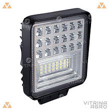 Светодиодная фара LED (ЛЕД) квадратная 126 W, 42 лампы, широкий луч 10/30V 6000K толщина: 40 мм | VTR
