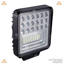 Світлодіодна фара LED (ЛІД) квадратна 126 W, 42 лампи, широкий промінь 10/30V 6000K товщина: 40 мм   VTR