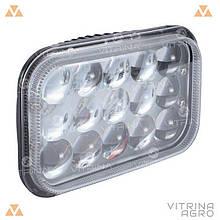 Світлодіодна фара LED (ЛІД) прямокутна 45W, 15 ламп, дальній і ближній промінь 10/30V 6000K товщина: 78 мм  