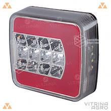Ліхтар світлодіодний LED (ЛІД) задній квадратний універсальний 106 мм х 100 мм х 36 мм 12/24/36 V L | VTR