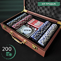 Покерный набор ZOOCEN Вкейсе-чемоданена 200 фишек с номиналом Кожзам Коричневый (PK200L)