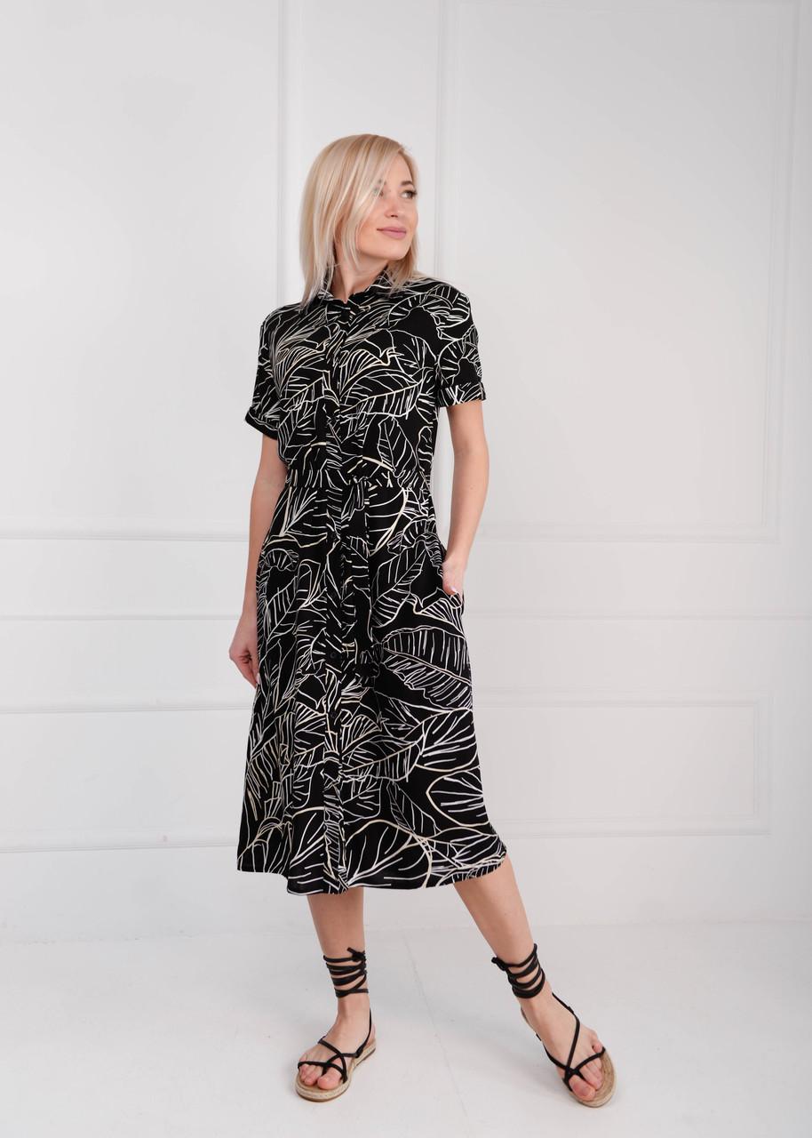 Платье рубашка миди Листья