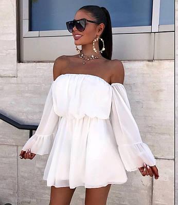 Женское летнее шифоновое мини платье с открытыми плечами