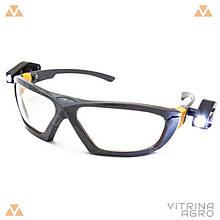 Очки защитные с 2-мя фонариками (линза ПК)   VTR (Украина) ZO-0036