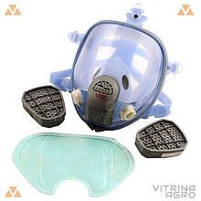 Респіратор-маска - Хімік-3 з двома фільтрами хімічними вугільними під байонет, силіконова оправа | VTR