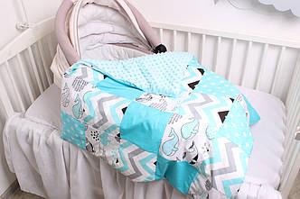 """Комплект в коляску для новорожденного """"Бирюзовые киты"""""""