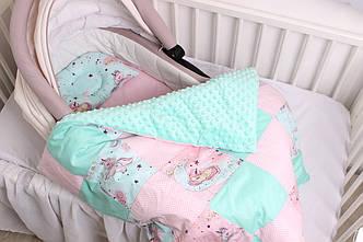 """Комплект в коляску для новорожденного """"Мятно-розовые Единороги"""""""