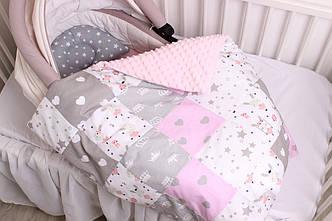 """Комплект в коляску для новорожденного """"Серо-розовый"""""""