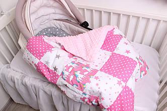 """Комплект в коляску для новорожденного """"Розовые единороги"""""""