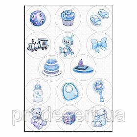 Хлопчикові малюкові вафельна картинка для капкейків 6 см