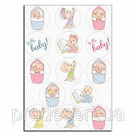 Младенецы вафельна картинка для капкейків 6 см