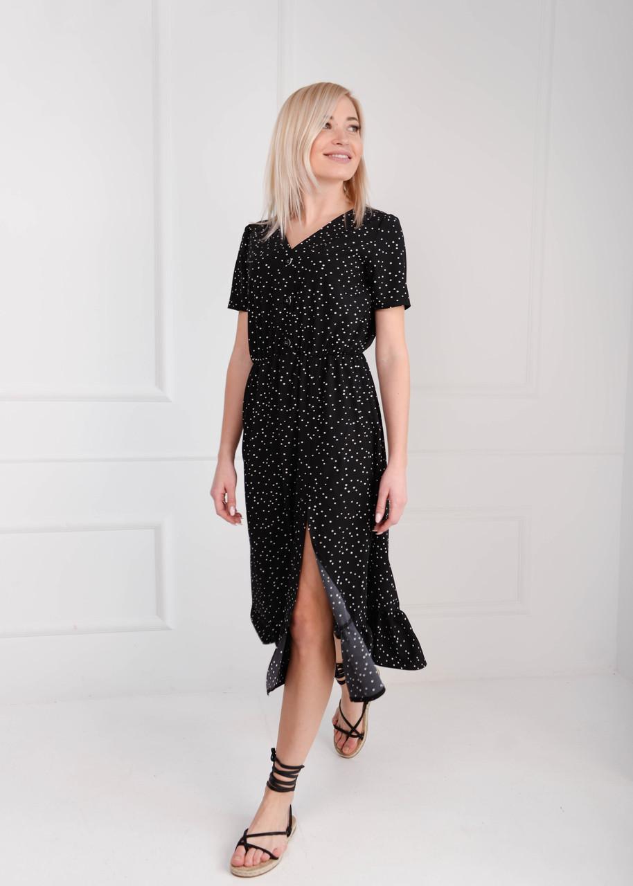 Платье летнее миди черное горох