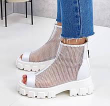 Жіночі черевики білі літні еко шкіра+ сітка