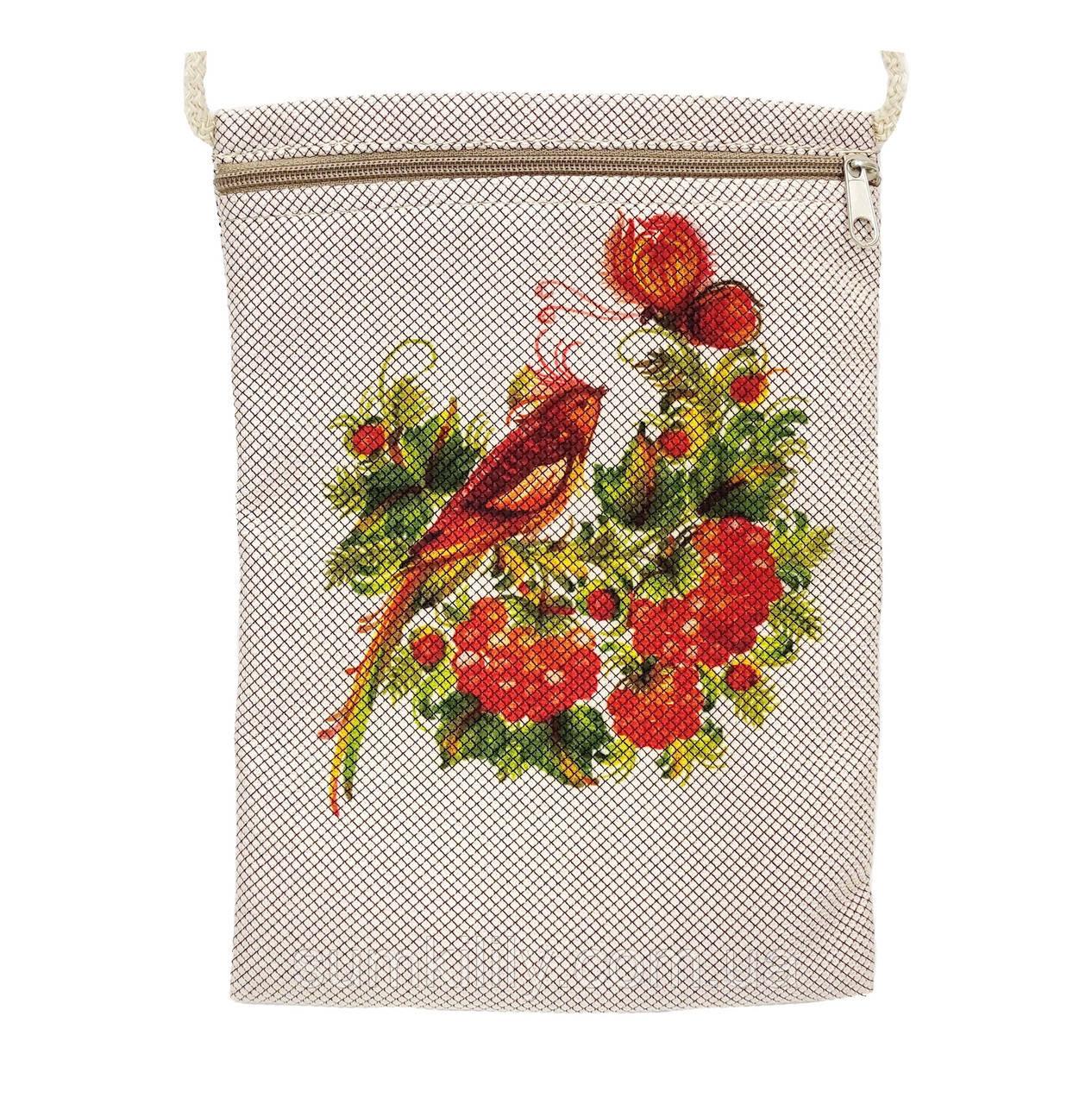 Текстильный кошелек Птичка с бабочкой