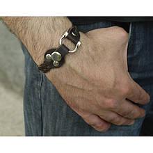 Браслет кожаный с плетением и металлической рамкой