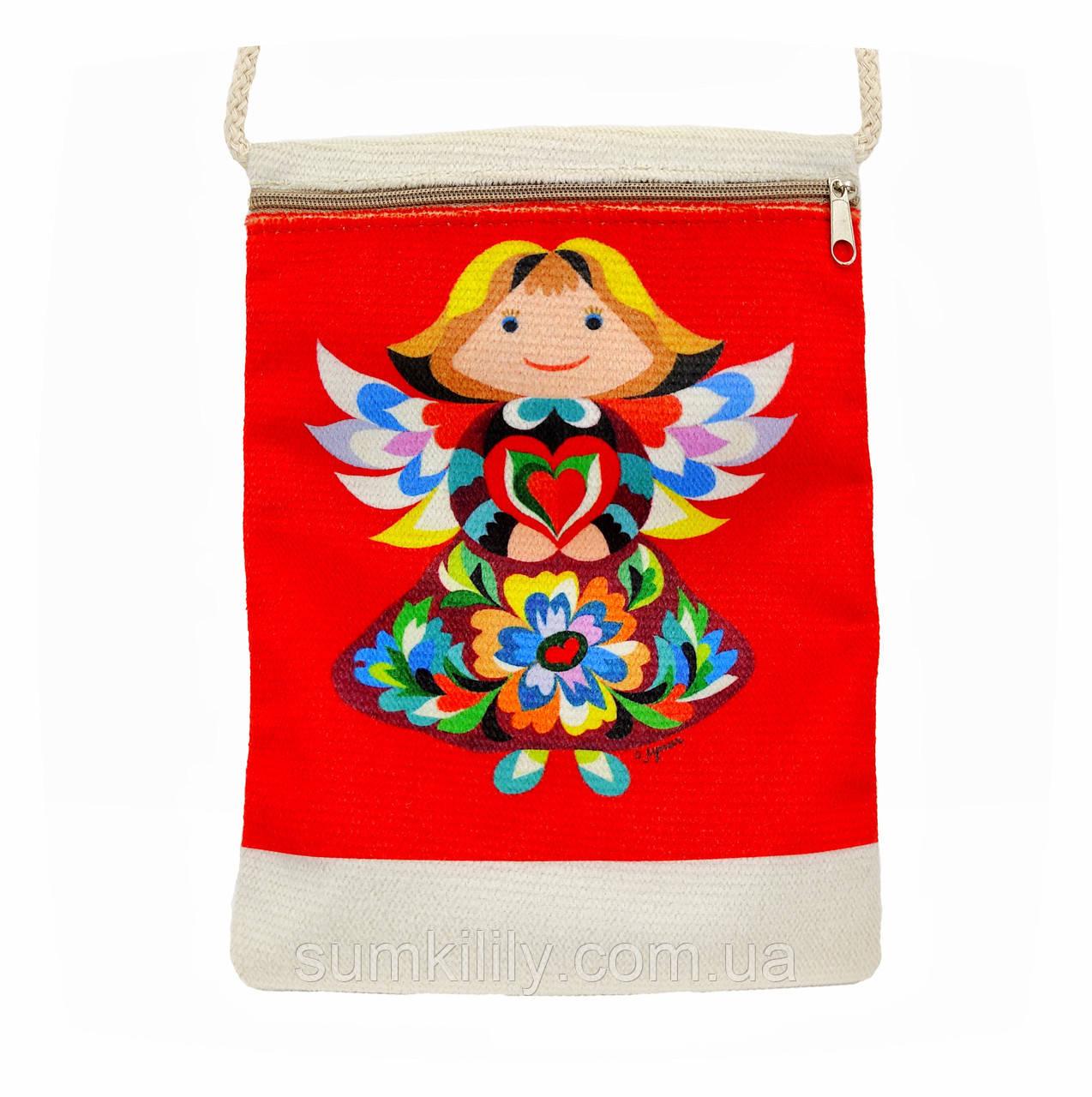 Текстильний гаманець Ангел 2 червоний