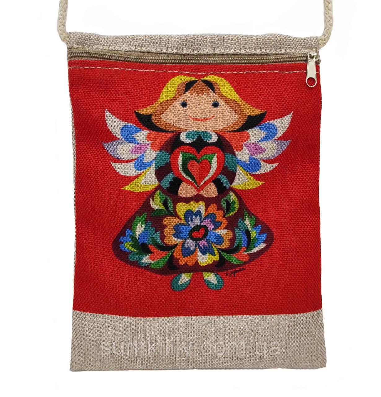 Текстильный кошелек  Ангел  красный