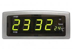 Часы настольные Caixing CX-818 с зеленой подсветкой, серые