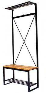 Вішалка в передпокій GoodsMetall з металу і дерева в стилі Лофт 1900х800х350мм Мюррей
