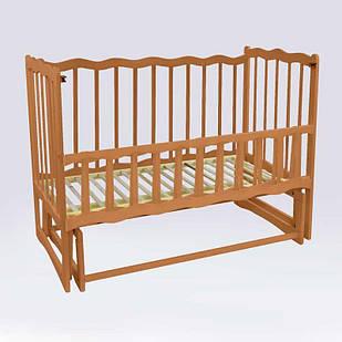"""Кроватка деревянная маятник c откидным бортиком """"Волна"""" Светло-коричневый (74151)"""
