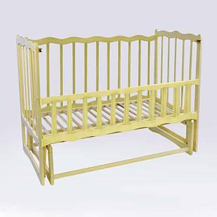 """Кроватка деревянная маятник c откидным бортиком """"Волна"""" Слонова кость (74148)"""