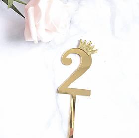 Топпер цифра 2 Золото. Рамер 6,2 см.