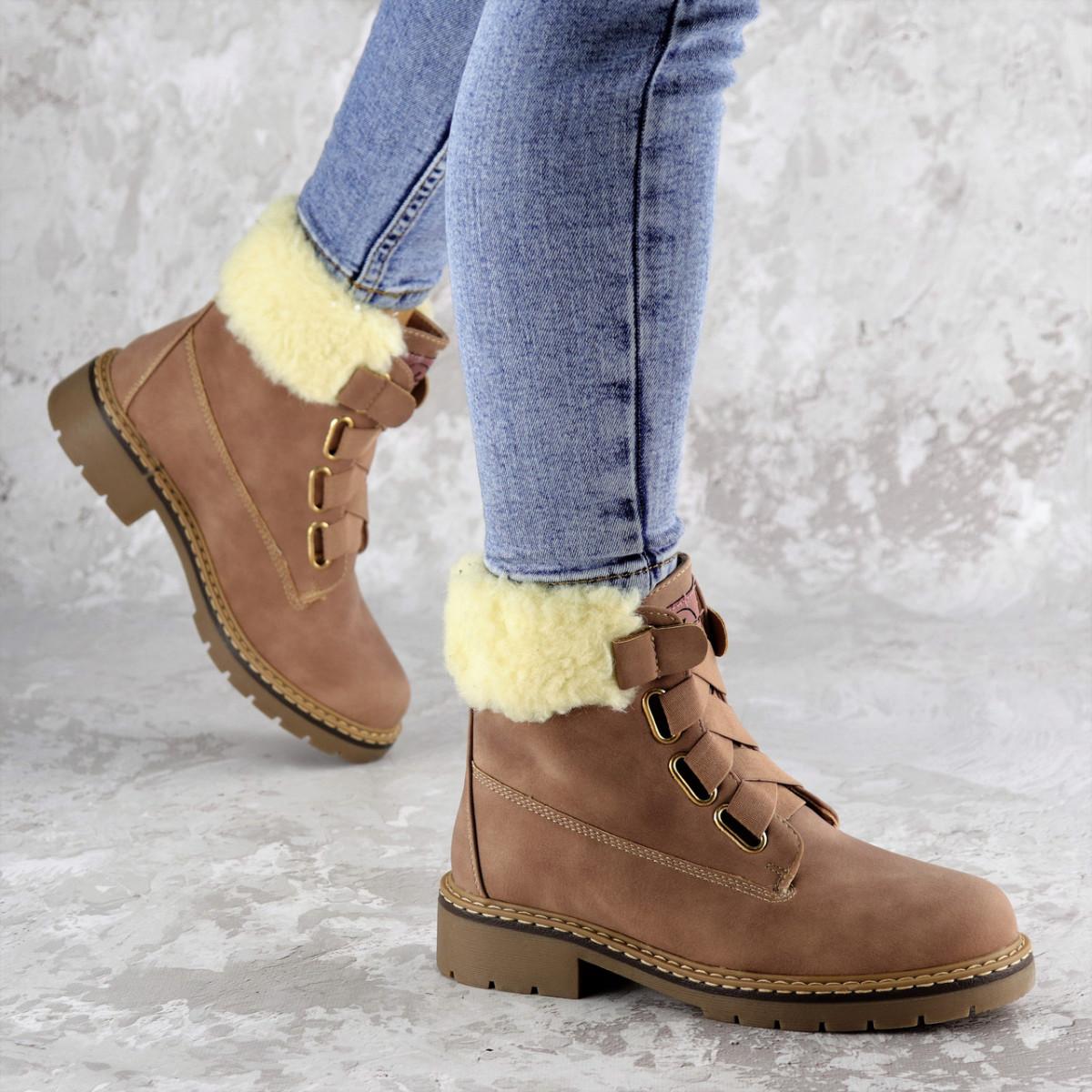 Жіночі зимові черевики Fashion Taffata 1374 36 розмір 23 см Коричневий