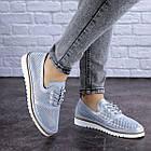 Женские кожаные туфли Fashion Niky 1726 36 размер 23,5 см Голубой, фото 8