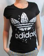 Футболка женская черная Adidas (321) код 105д