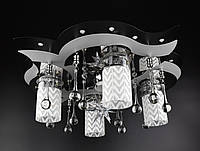Люстра потолочная Космос с цветной LED подсветкой и авто отключением с пультом 5521/4+1 Черный 19х53х53 см.