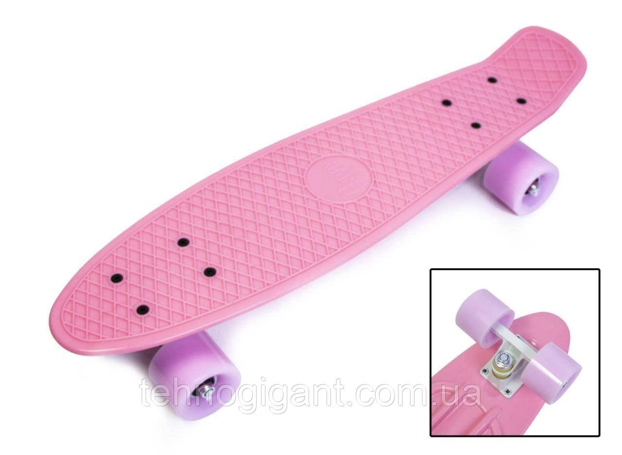 Скейт Penny Board, із широкими світлими колесами Пенні борд, пенниборд дитячий , від 4 років, рожевий
