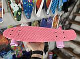 Скейт Penny Board, із широкими світлими колесами Пенні борд, пенниборд дитячий , від 4 років, рожевий, фото 5