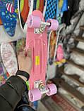 Скейт Penny Board, із широкими світлими колесами Пенні борд, пенниборд дитячий , від 4 років, рожевий, фото 3