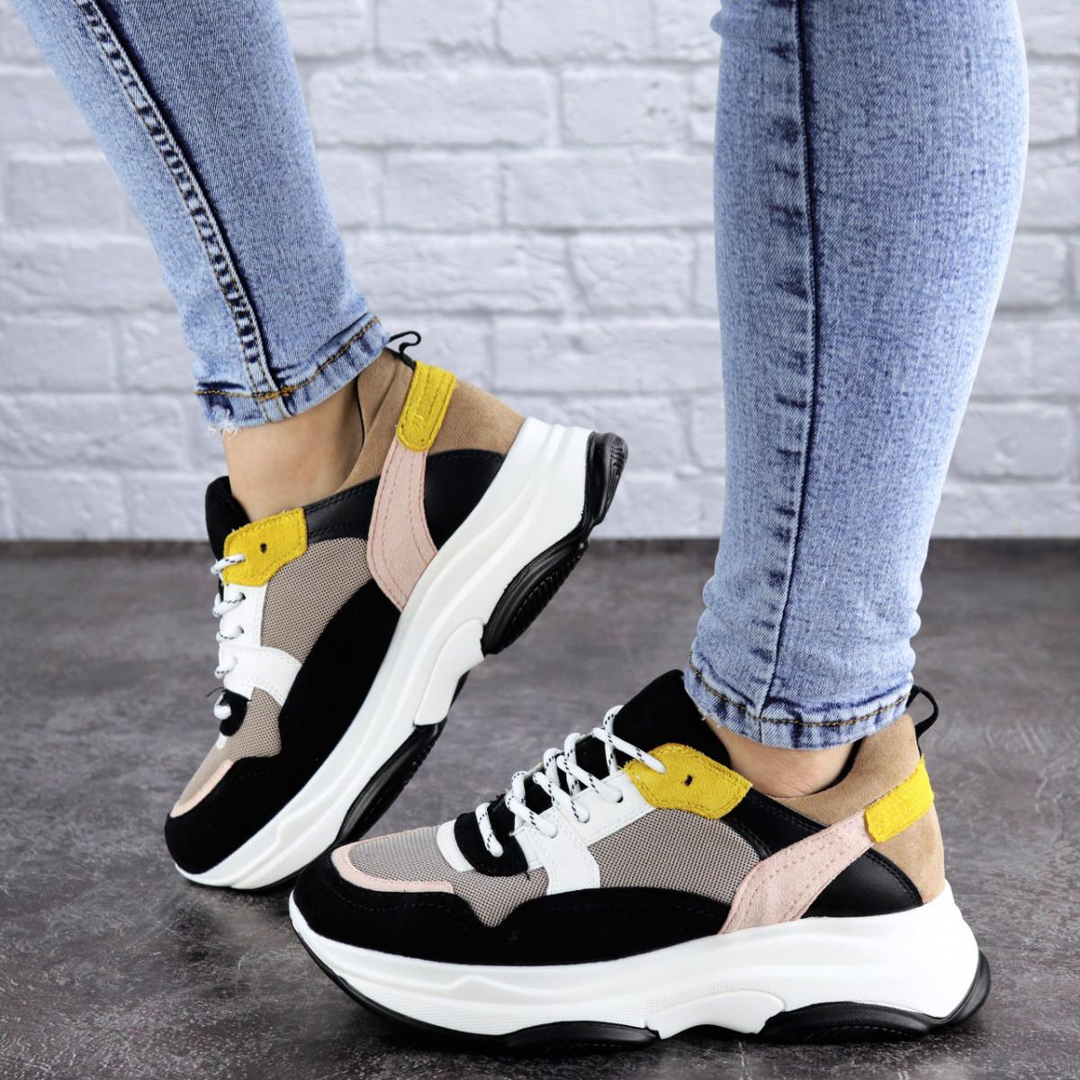 Жіночі різнокольорові кросівки Fashion Pepita 2043 36 розмір 23 см Чорний