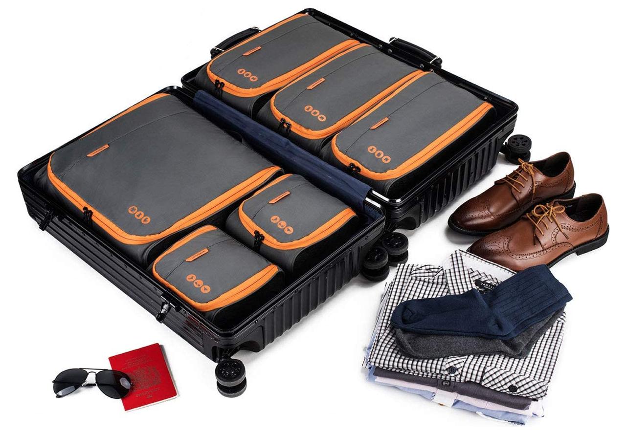 Набор органайзеров для путешествий Bagsmart Серый с оранжевым (FBBM0104087AN008BS)