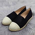 Жіночі еспадрільї Fashion Kasem 1218 37 розмір 23,5 см Чорний текстиль, фото 2