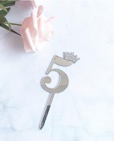 Топпер цифра 5 Серебро. Рамер 6,2 см.
