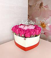 Букет из мыла в виде сердца, Букет цветов из мыла,подарок мыльные цветы