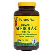 Ацерола-C, Витамин C с Биофлавоноидами, 500 мг, Nature's Plus, 90 жевательных таблеток