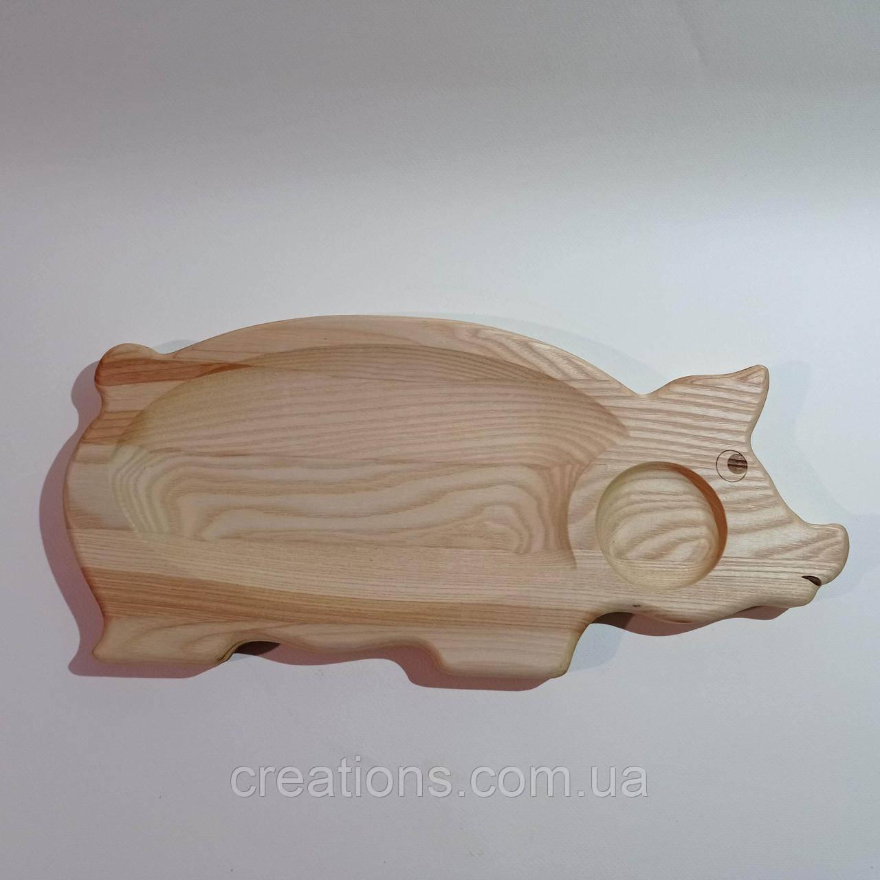 """Менажница деревянная """"поросенок"""" доска для подачи шашлыка с соусницей"""