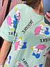 Женская удлиненная футболка оверсайз с разрезами и мультяшным принтом Слоник, 4 цвета В-1-0521, фото 2