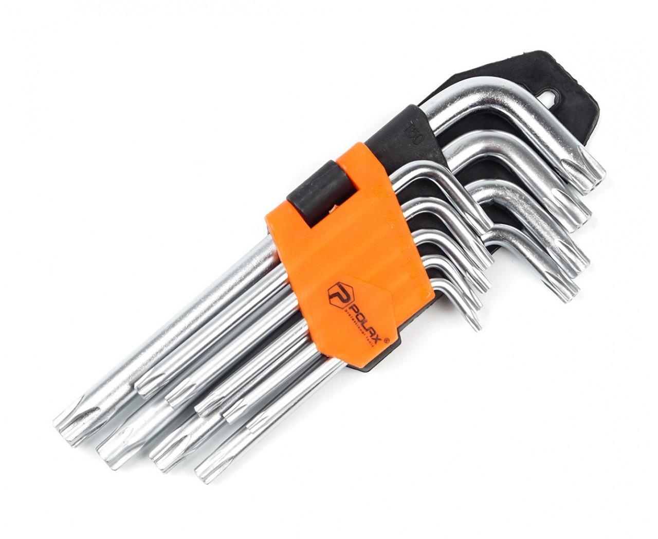 Набір Г-подібних ключів TORX 9 од. Т10-Т50, Cr-V Полакс