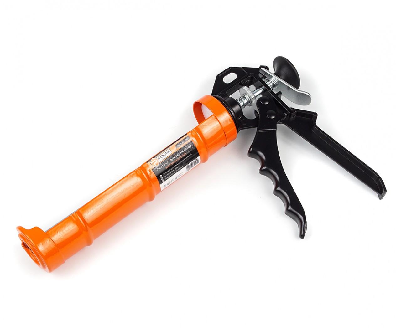 Пістолет для силікону з трещеткой з металевою ручкою Полакс