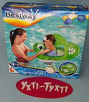 Детский надувной плотик Черепашка, Bestway с отверстиями для ног, навесом для малыша Размер: 74 × 66 см 34094
