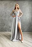 Женское праздничное платье в пол с кружевным верхом и разрезом(в расцветках), фото 2