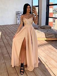 Жіноче святкова сукня з мереживним верхом та розрізом(в кольорах)