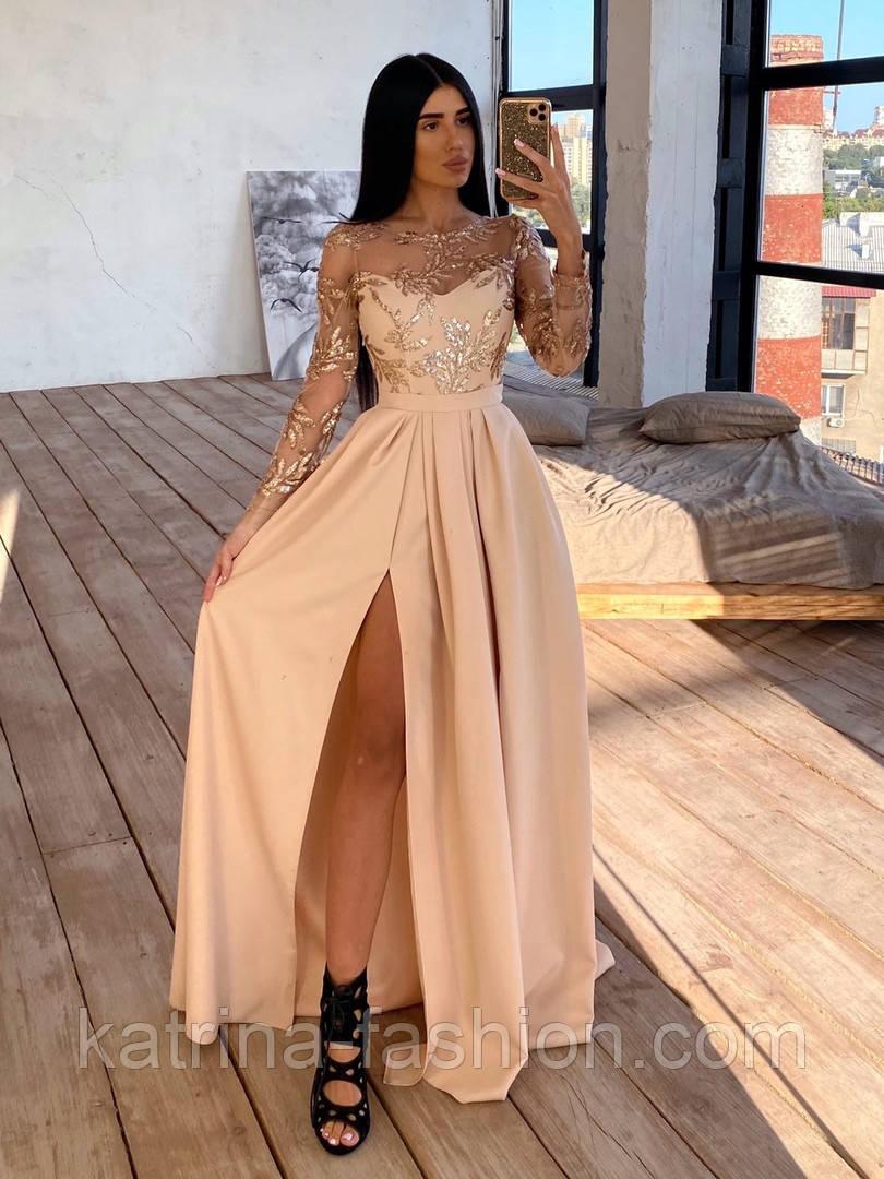 Женское праздничное платье в пол с кружевным верхом и разрезом(в расцветках)