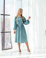 Женское шелковое платье длиной миди
