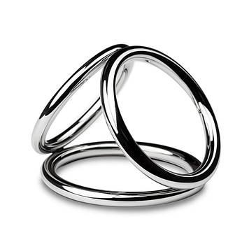 Тройное эрекционное кольцо Sinner Gear Unbendable - Triad Chamber Metal Cock and Ball Ring - Large Bomba💣
