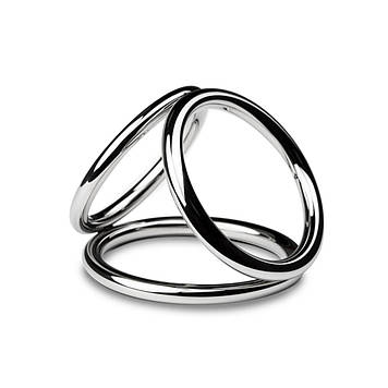 Тройное эрекционное кольцо Sinner Gear Unbendable - Triad Chamber Metal Cock and Ball Ring - Medium Bomba💣
